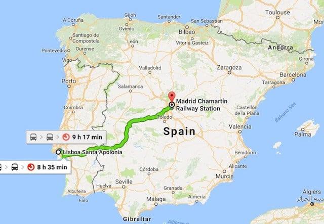 Viaje en tren de Lisboa a Madrid